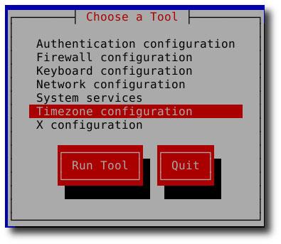 redhat timezone setup config